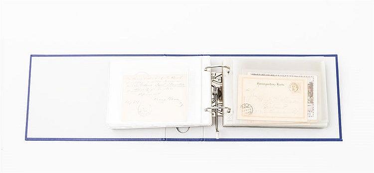Briefmarken - Ordner mit ca. 80 Briefen und Karten mit etwas Deutschland einschl. Gebiete und Feldpost 1. Weltkrieg,
