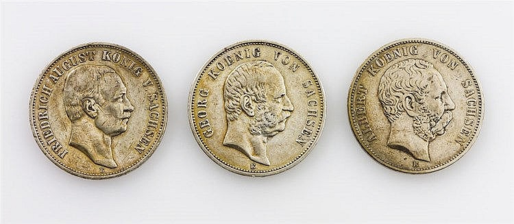 Sachsen - Kleinkonvolut: 3 x 5 Mark,