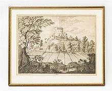 Kupferstich von Schloss Habsburg im Aargau -