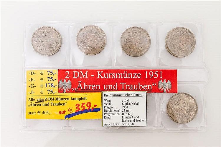 BRD - 1951, Korn und Ähre, 1 x kompletter Satz D/F/G/H,