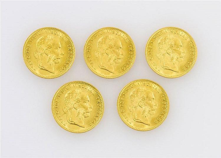 Österreich/ GOLD - 5 x 1 Dukat, Neuprägung 1915,