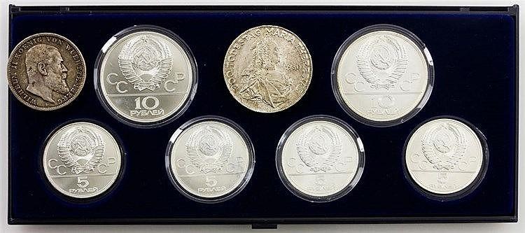 Buntes Kleinkonvolut aus SILBER - 1 x Set Russland/SILBER mit 2 x 10 Rubel und 4 x 5 Rubel, Olympiade Moskau 1980, z. T. verkapselt, stgl., ca. 119g Ag fein.