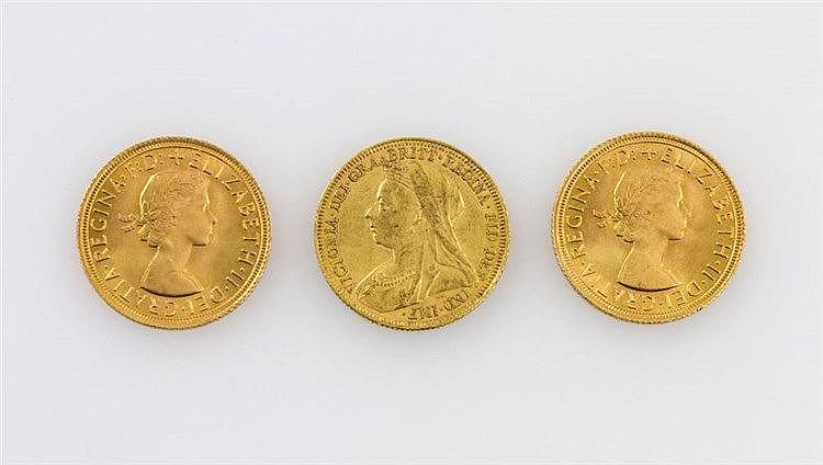 GB/ GOLD - Konvolut von 3 Goldsovereigns: 1894/S, 2 x 1965,