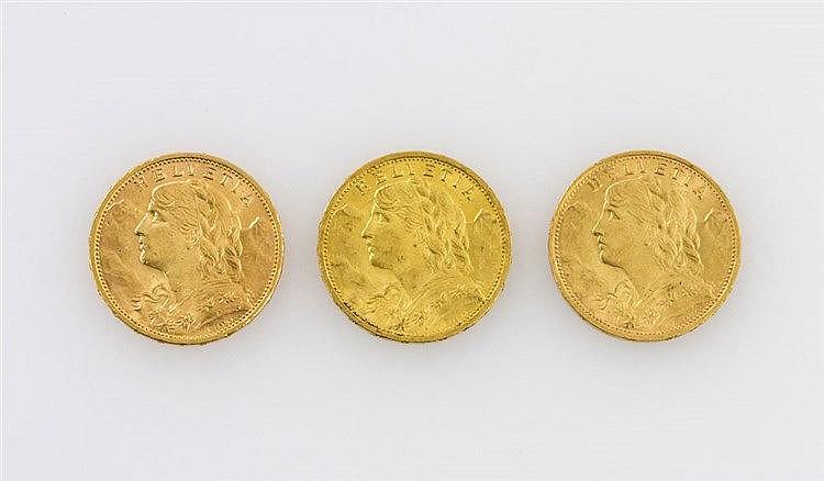 Schweiz/ GOLD - Kleinkonvolut von 3 x 20 Franken, Vreneli: 1902/B; 1915/B; 1922/B,