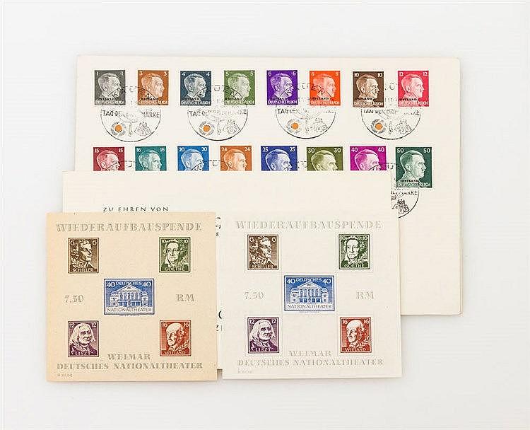 Briefmarken Konvolut: Fundgrube - Kleinlot mit Blockausgabe Dt. Reich /SBZ,