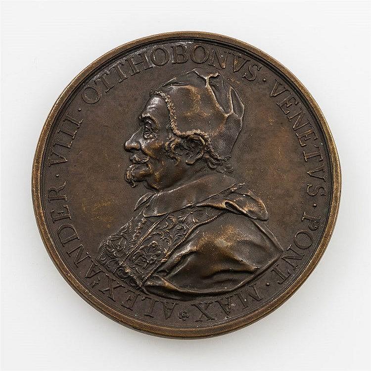 Vatikan - Posthume BRONZEmedaille 1700, von St. Urbain auf die Grundsteinlegung seines Grabmals,