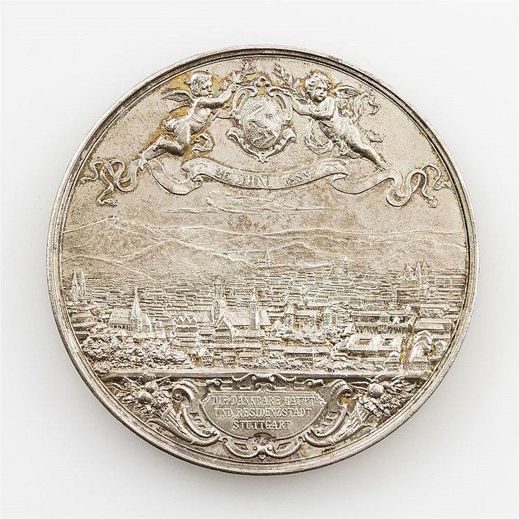 Württemberg - versilberte BRONZEmedaille der Stadt Stuttgart 1889, v. C. Weigle und A. Scharff, auf das 25-jährige Regierungsjubiläum,