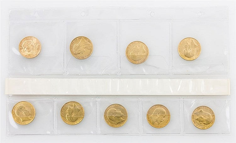 Konvolut GOLDmünzen, vorwiegend GB - 9 GOLDmünzen, dabei 1 x GB - 1 Sovereign 1894, Victoria, s. mit kleineren Randfehlern, 7,32g GOLD fein.