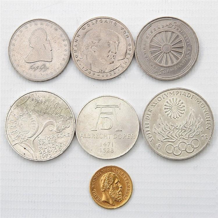 Kleinkonvolut mit GOLD und SILBER - BRD mit 2 x 10 DM und 4 x 5 DM.