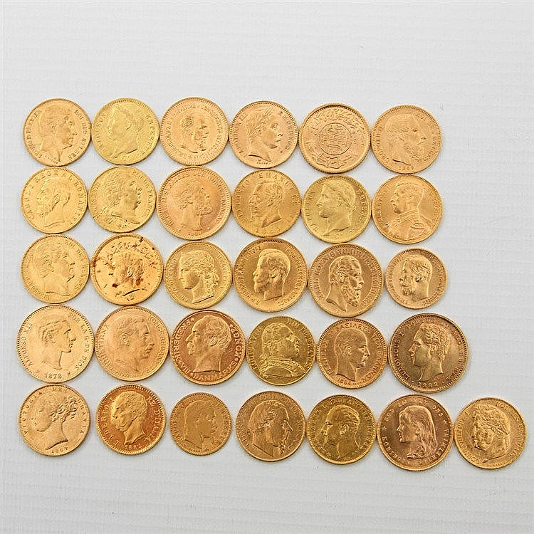 Konvolut GOLD aus aller Welt - mit GOLDmünzen u. a. aus Dänemark, Frankreich, Bulgarien, Belgien, Russland, Schweden, Portugal, Italien und Saudiarabien.