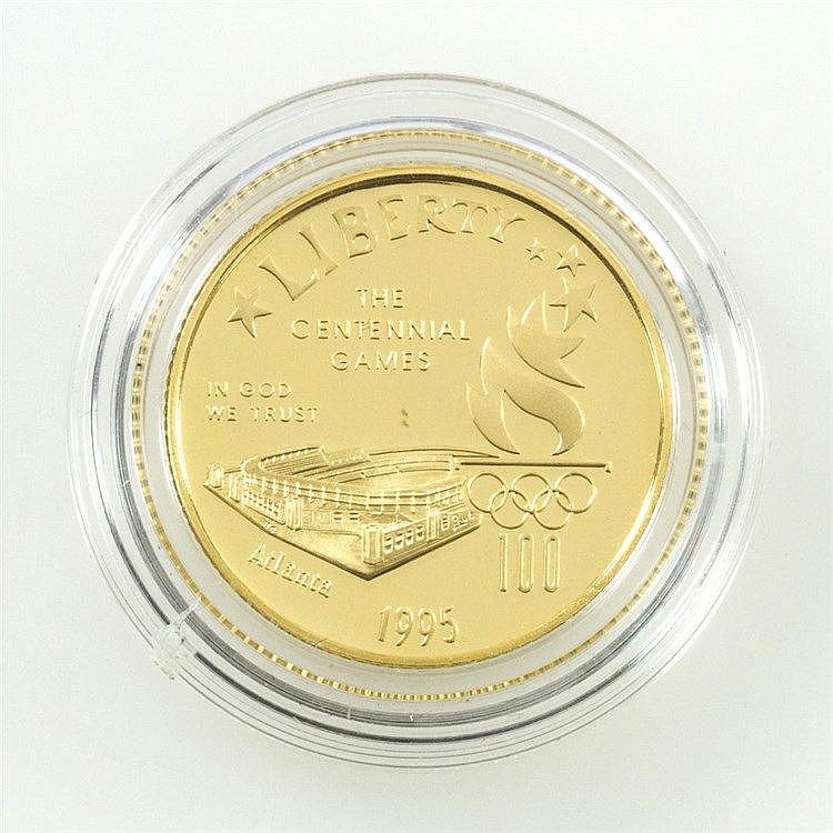 USA/GOLD - 5 Dollars 1995, Olympiade Atlanta Stadion, PP,