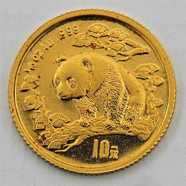 China - 1/10 Unze GOLD, Motiv Pandbär, 1997,