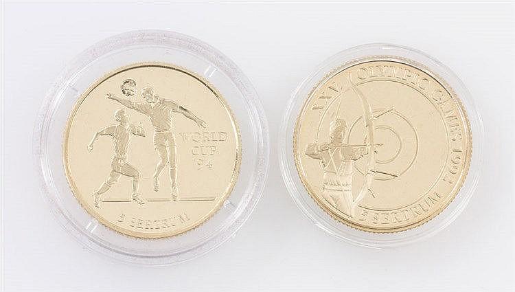 Bhutan/GOLD - 2 x 5 Sertrum 1993, XXV. Olympische Spiele 1992 und World Cup 1994,