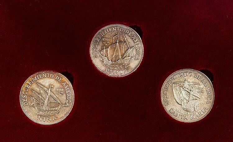 Kuba - Kursmünzensatz 3 x 5 Pesos 1981, Segelschiffe 'Nina', 'Santa Maria', 'Pinta',
