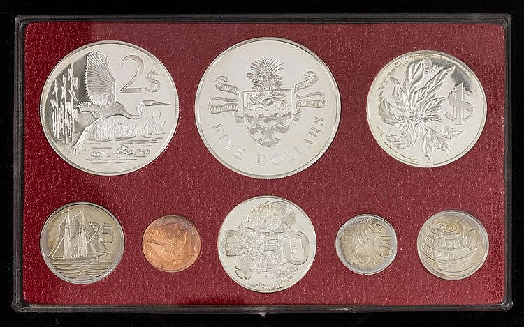 Cayman Inseln - Kursmünzensatz 5 Dollars bis 1 Cent,
