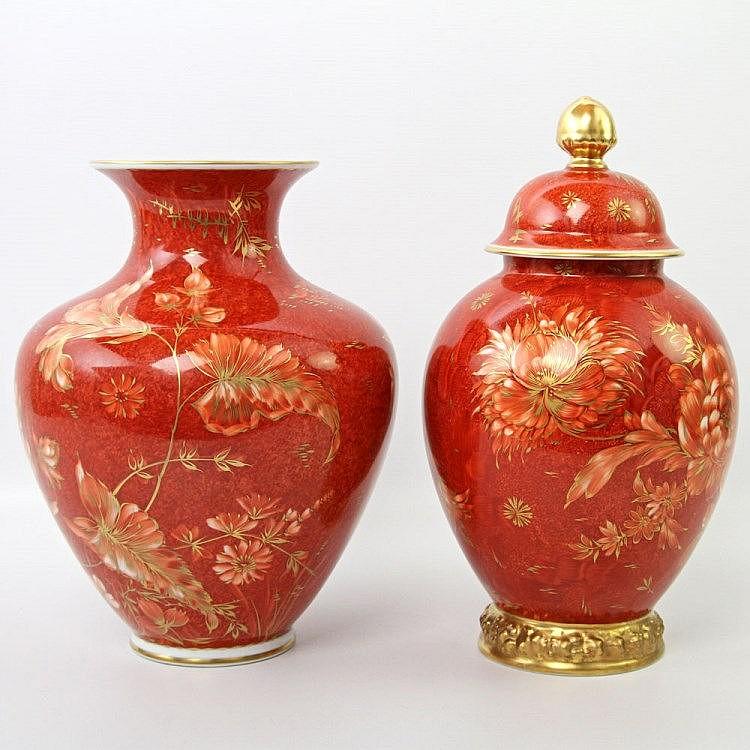 konvolut rosenthal 2 vasen davon 1 deckelvase dekor zaub