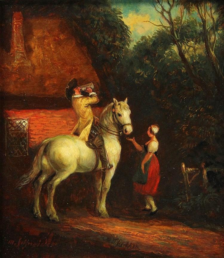 SCHNEIDER, M. (wohl Max Schneider; 1903-1980): Reiter zu Pferde mit Magd , 20. Jhd.,