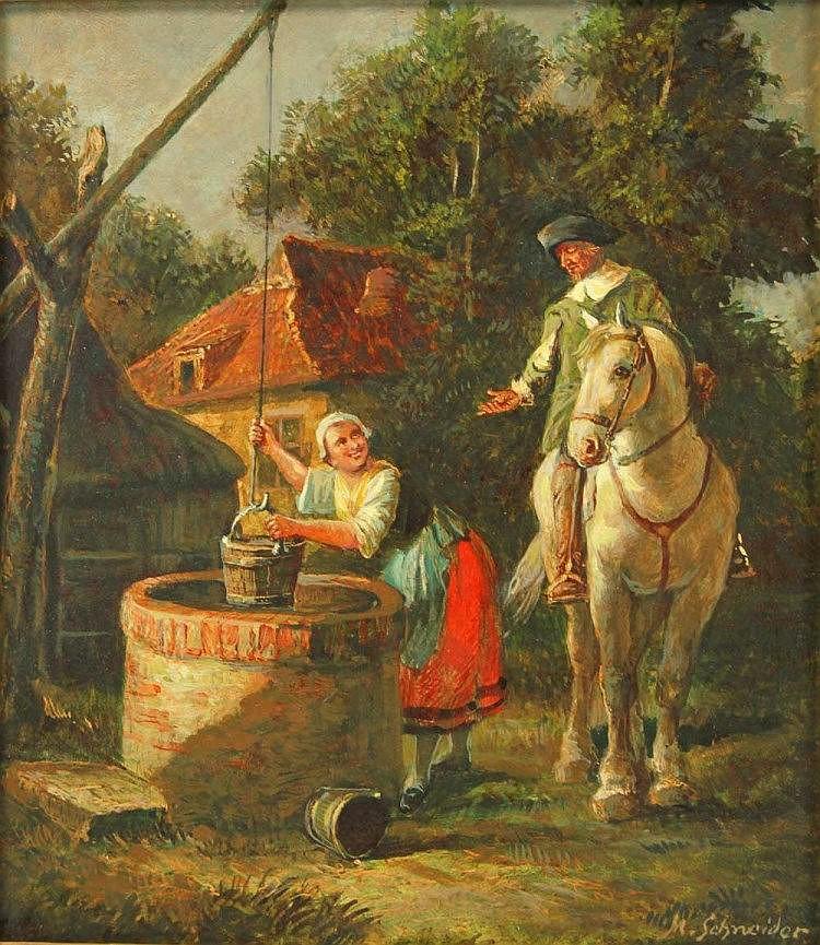 SCHNEIDER, M. (wohl Max Schneider; 1903-1980): Reiter zu Pferde mit Magd an einem Brunnen, 20. Jhd.,