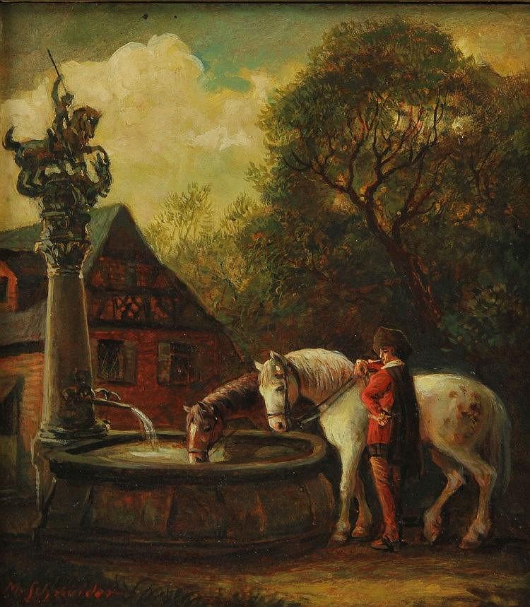 SCHNEIDER, M. (wohl Max Schneider; 1903-1980): Reiter mit seinen beiden Pferden bei der Rast an einem Brunnen, 20. Jhd.,