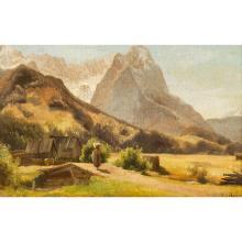 """HÖFER, HEINRICH (1825-1878), """"Sennerin vor Hütten im Wettersteingebirge mit Blick auf die Zugspitze"""","""