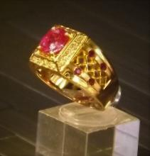 Pink Sapphire and Diamond ring 18K