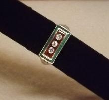 Deco diamond, emerald, carnelian ring