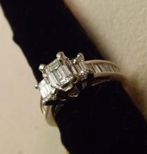 Emerald cut diamond ring 1.74cts tw