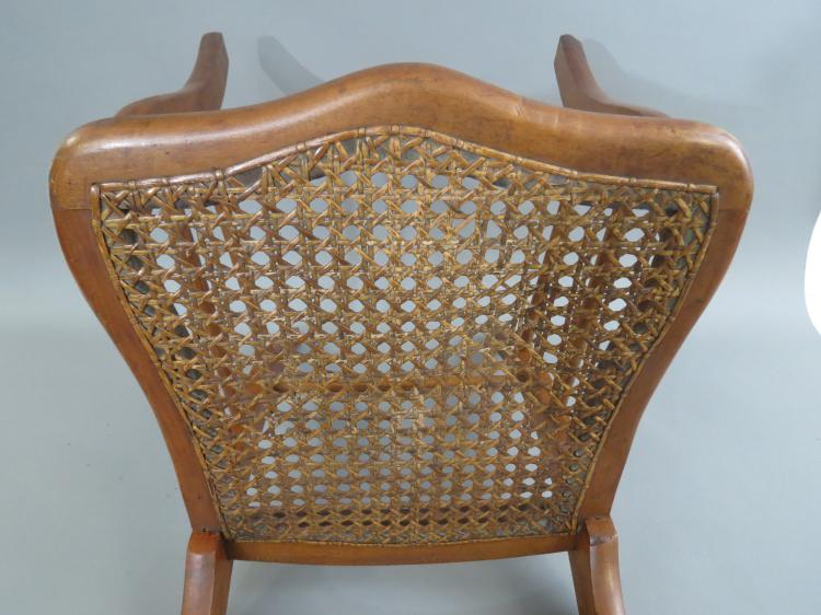 Antique tiger maple carved chair