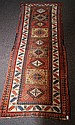 Antique Persian Kazak runner. 9'3 X 3'4