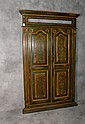 French Colonial painted wood double door cabinet