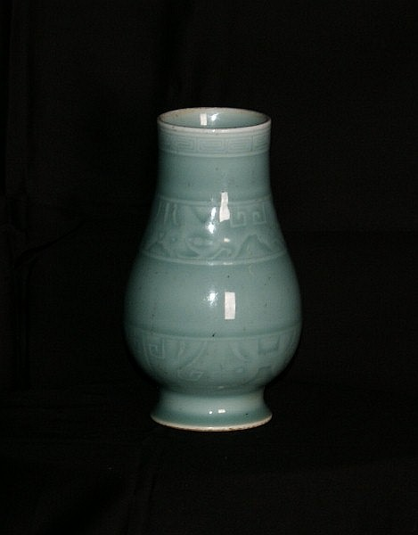 18th c Chinese celadon porcelain vase, H:6