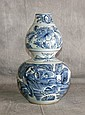 17th C Chinese double gourd blue and white porcelain vase.