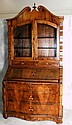 Early 18th C Italian inlaid 2 part drop front secretary desk. H:94