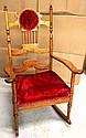 L25 ANTIQUE ORNATE VICTORIAN UPHOLSTERED ROCKING CHAIR