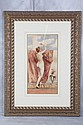 L38 ANTIQUE c.1900 RARE FRAMED ORIGINAL NUDE WATERCOLOR by LISTED ISAAC CULLIN