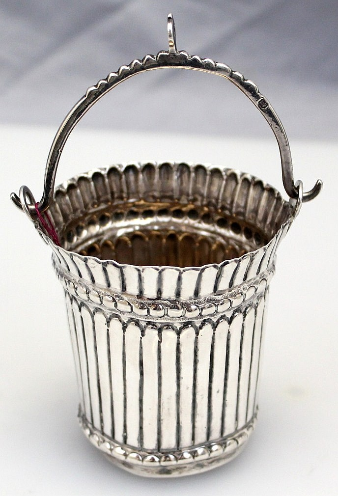 L96 ANTIQUE c. 1786 CONTINENTAL SILVER HOLY WATER FONT BUCKET ITALIAN CHAPEL