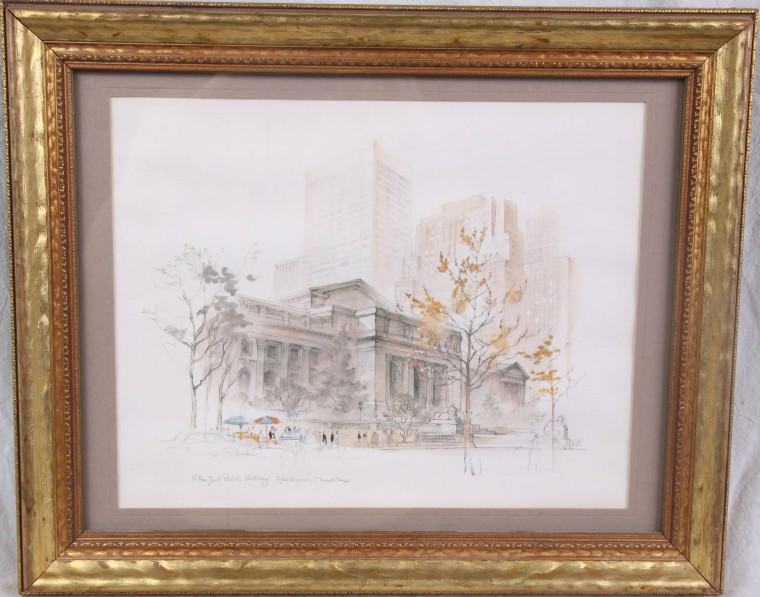 L266 FRAMED VINTAGE MADS STAGE WATERCOLOR NYC PUBLIC LIBRARY 5th AVENUE