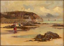 John Brett, Mussel Gatherers, Cornwall, O/C, 1888