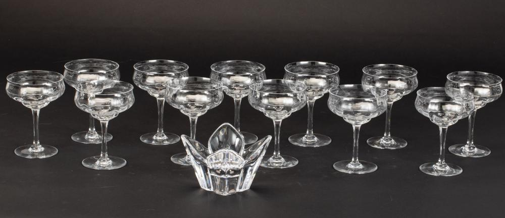 12 BACCARAT CHAMPAGNE GLASSES & ORREFORS SMALL BOWL