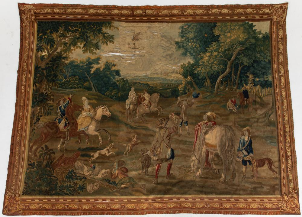 FRENCH AUBUSSON TAPESTRY OF A HUNT SCENE, 18TH C