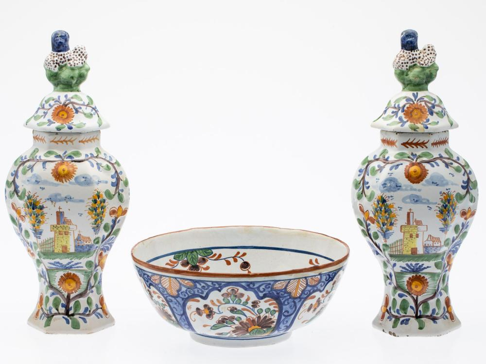 PAIR OF DELFT LIDDED URNS AND A BOWL, 18TH CENTURY