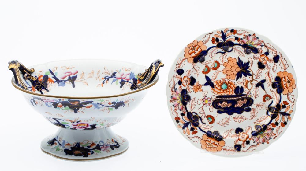 ENGLISH HANDLED COMPOTE AND A PLATE, 19TH CENTURY