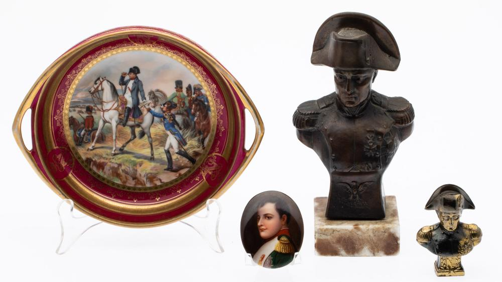 GROUP OF NAPOLEON CERAMIC AND METAL ARTICLES