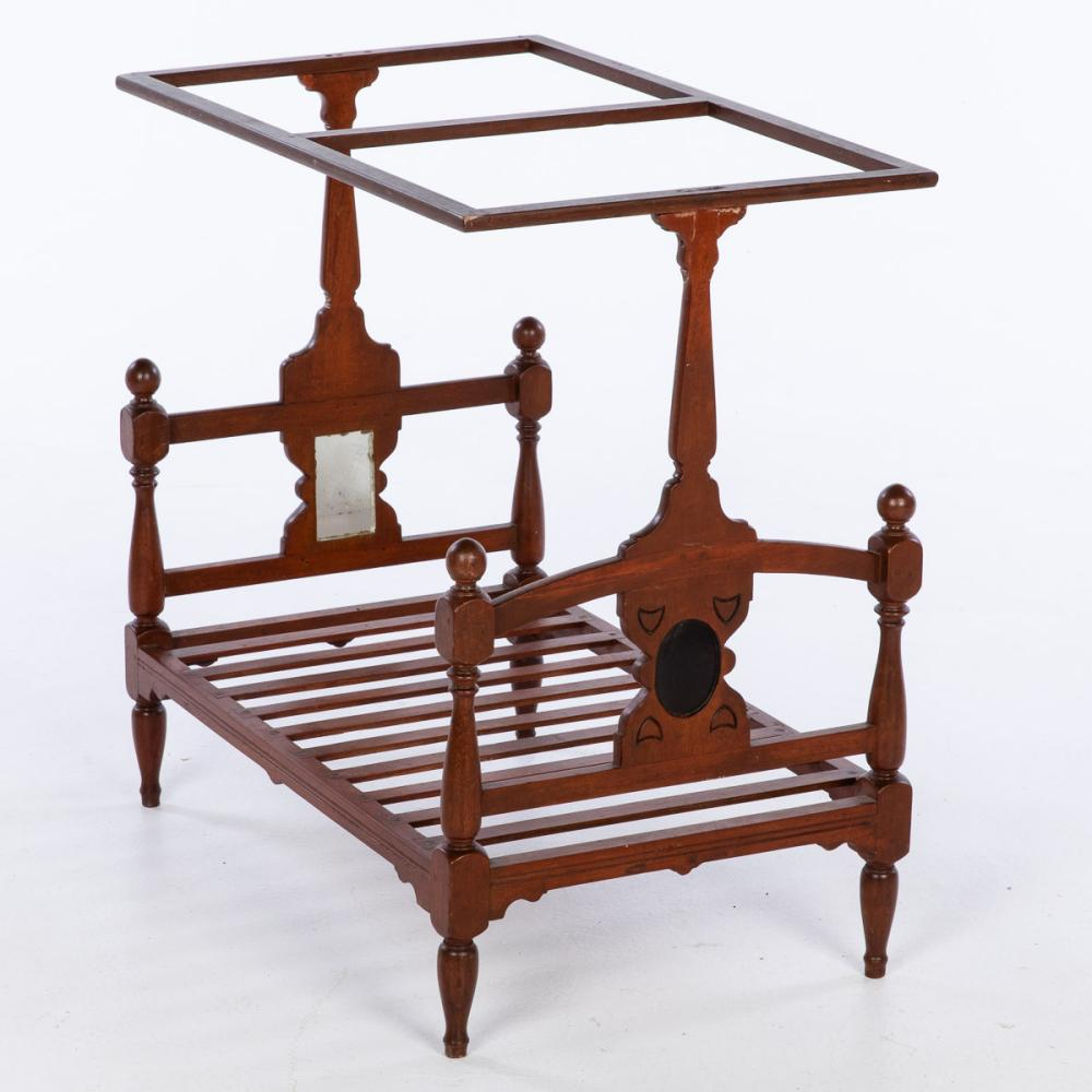 DOLL'S MAHOGANY TESTER BED, LATE 19TH C