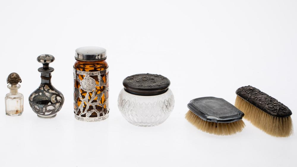 SIX SILVER AND GLASS VANITY ITEMS