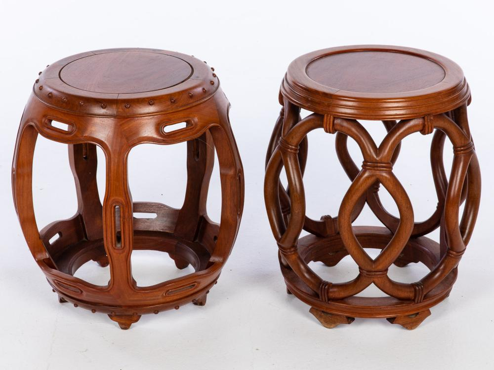 TWO CHINESE ROSEWOOD GARDEN SEATS, 20TH CENTURY