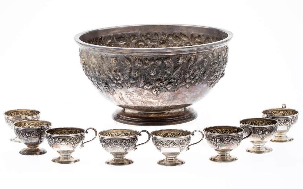 S. KIRK AND SON STERLING SILVER PUNCH BOWL & 8 CUPS