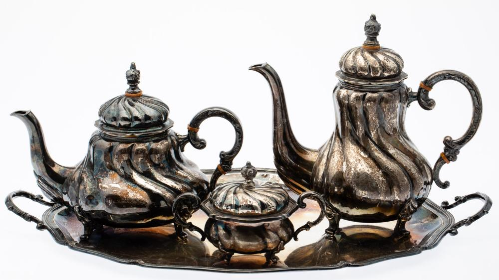 HANDARBEIT 3 PIECE STERLING TEA SERVICE AND TRAY