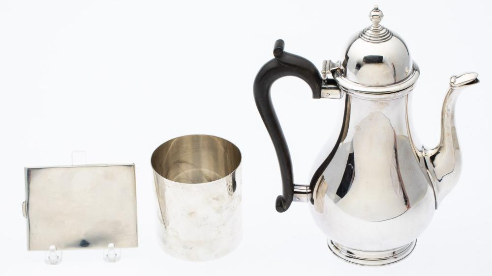 2 TIFFANY STERLING ARTICLES & SILVERPLATE COFFEE POT
