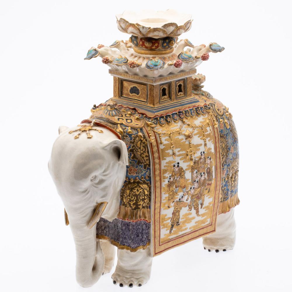 JAPANESE SATSUMA ELEPHANT, 19TH C, MEIJI PERIOD
